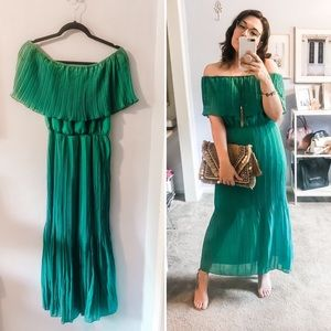 Green Pleated Chiffon Off-Shoulder Maxi Dress